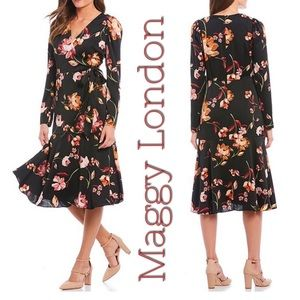 Maggy London Painted Garden Charmeuse Dress 14P